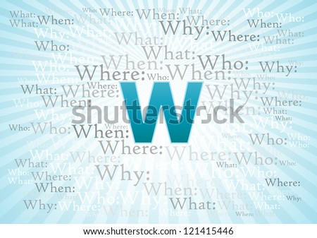 Why, When, Who, Where, What questions on color background - stock photo
