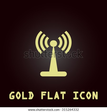 Wi-Fi. Gold flat icon. Symbol for web and mobile applications for use as logo, pictogram, infographic element - stock photo