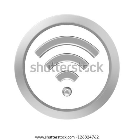 wi-fi icon chrome - stock photo