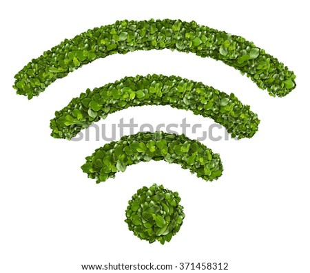 Wi-Fi Icon from the green grass. Isolated on white - stock photo