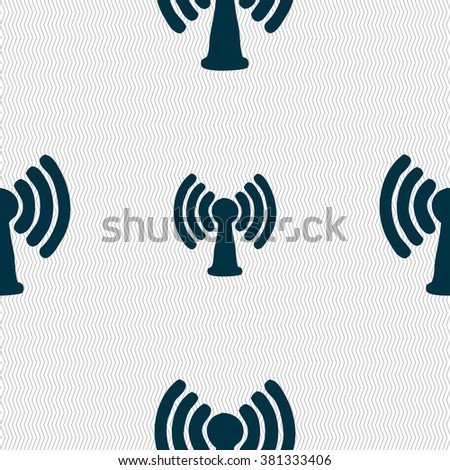 Wi-fi, internet icon sign. Seamless pattern with geometric texture. illustration - stock photo