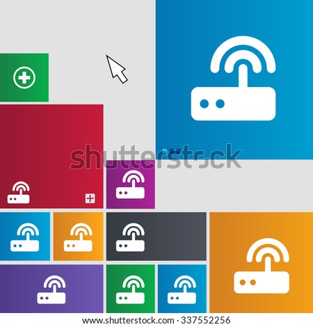 Wi fi router icon sign. buttons. Modern interface website buttons with cursor pointer. illustration - stock photo
