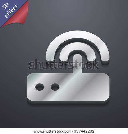 Wi fi router icon symbol. 3D style. Trendy, modern design with space for your text illustration. Rastrized copy - stock photo