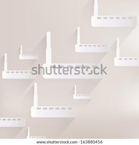 Wi fi router web icon - stock photo