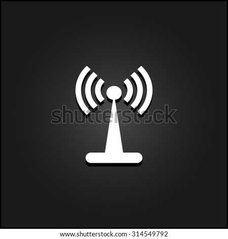 Wi-Fi. White flat simple icon illustration with shadow on a black background. Symbol for web and mobile applications for use as logo, pictogram, icon, infographic element - stock photo