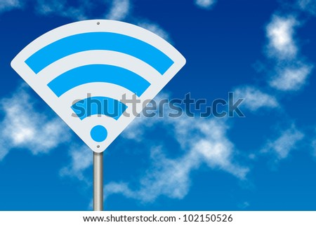 Wi-Fi zone Concept. WiFi board traffic sign over blue sky background - stock photo