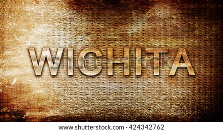 wichita, 3D rendering, text on a metal background