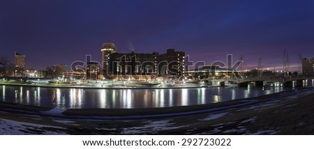 Wichita skyline during winter morning. Wichita, Kansas, USA - stock photo