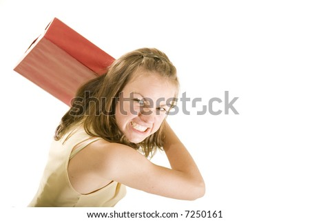 wicked girl which don't like gift - stock photo