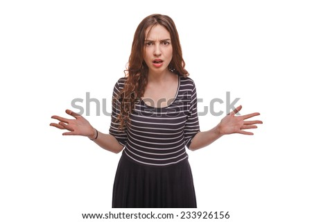 wicked woman spread her arms to the side isolated on white background - stock photo