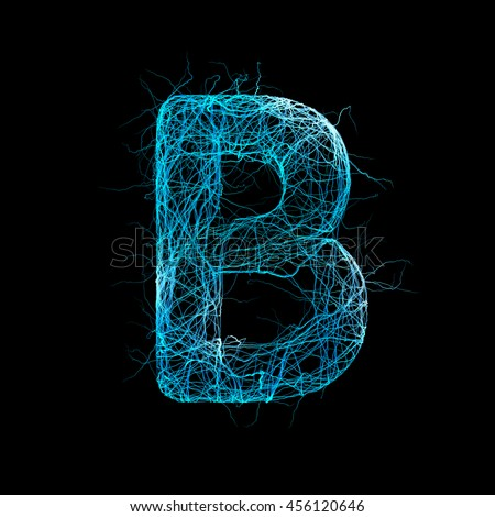 Wicker Alphabet. Letter B. Neurone concept. 3D illustration - stock photo