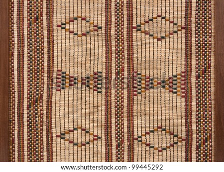 Wicker and leather background, wooden frame on both side - stock photo