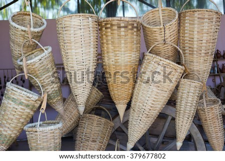Wicker basket for grape harvest. Abkhazia - stock photo