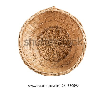 Wicker basket inside. Isolate on white background.