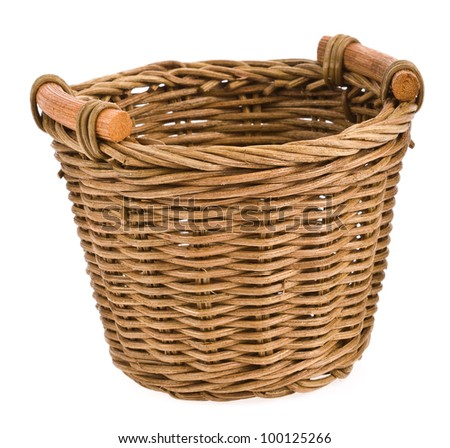 Wicker basket isolated on white background . - stock photo