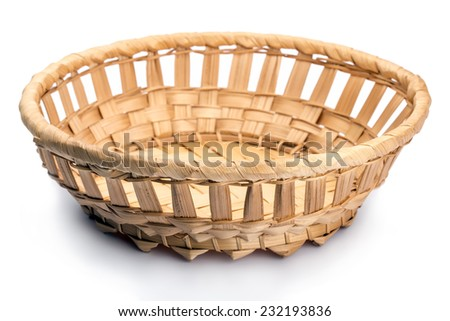 Wicker basket, isolated on white background - stock photo