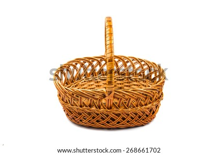 wicker basket on a white background - stock photo