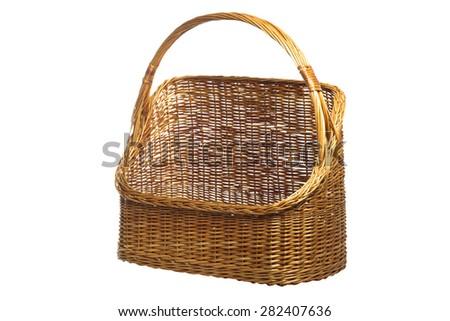Wicker basket on white background - stock photo