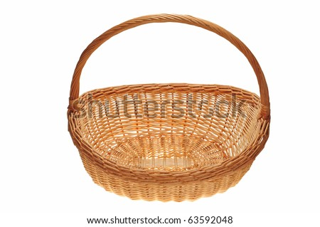 Wicker Basket Used For Flower Arrangement On White Background - stock photo