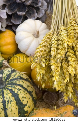 Wicker basket with autumn fruit and vegetables