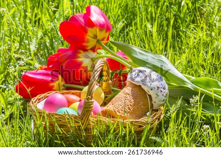 Wicker basket with colored eggs and Easter cake and red tulips in the green grass on a sunny spring day - stock photo