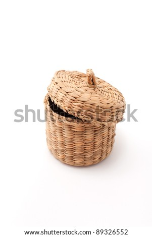 Wicker basket with cover isolated - stock photo
