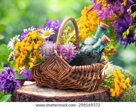 Wicker basket with healing herbs and bottles of tincture or cosmetic product. Herbal medicine. Vintage stylized. - stock photo