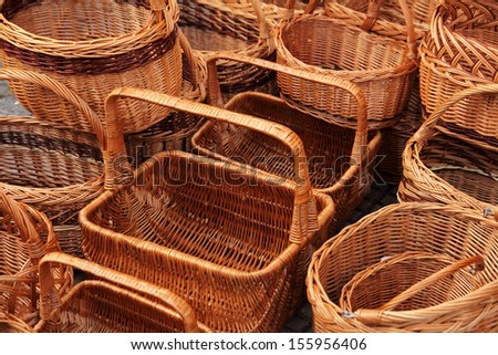 wicker baskets on market - stock photo