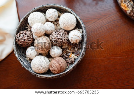 Wooden Decorative Balls Entrancing Wicker Bowl Wicker Balls Decorative Object Stock Photo 663705235 2018
