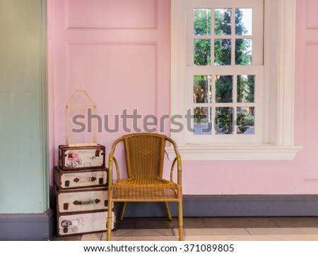 Wicker Chair Vintage Room Background Stock Photo 371089805 ...