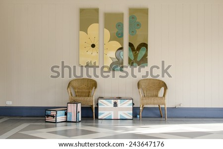 wicker chair in the room - stock photo
