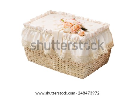 wicker decorative furniture isolated under the white background - stock photo