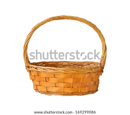Wicker gift basket isolated on white background - stock photo