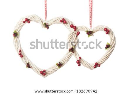 wicker Heart on white background - stock photo