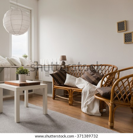 Wicker sofa and chairs in living room