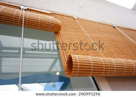 Wicker window blinds - stock photo