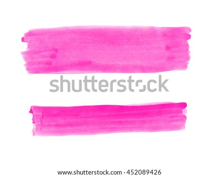 Wide and narrow magenta band painted with gouache