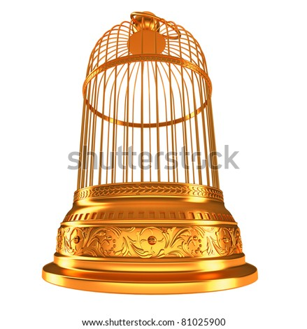 wide-angle bottom view of golden birdcage isolated on white