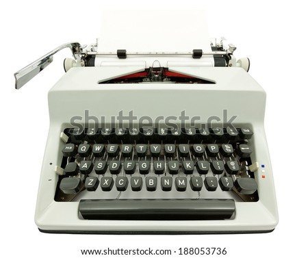 Wide angle front view of typewriter on white background with clipping path