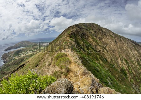 wide angle image of the rim of Koko Head Crater from the east - stock photo