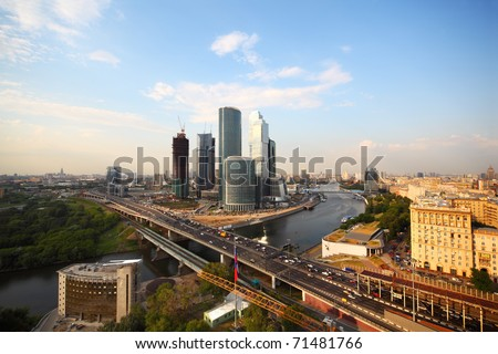 wide angle, Moscow river, Third Transport Ring, skyscrapers in Moscow, Russia - stock photo
