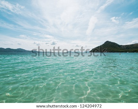 Wide angle of Coastline island Lefkada, Greece - stock photo