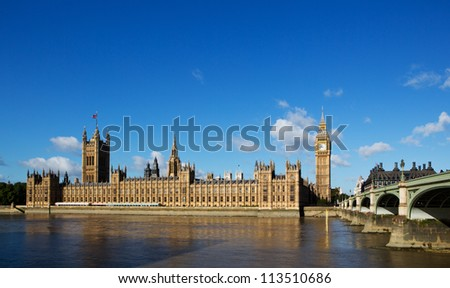 Wide angle of Houses of parliament on the river thames - stock photo