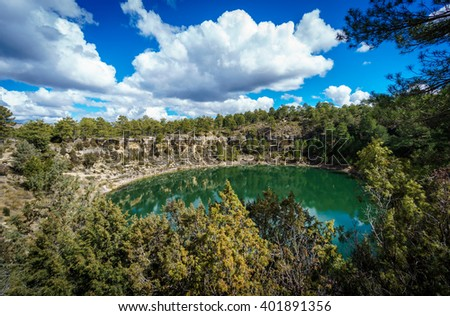 Wide angle of round lakes in palancares, Cuenca - stock photo