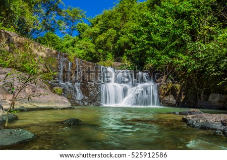 Wide angle of Tharnrattan waterfall in Khaoyai national park, Thailand
