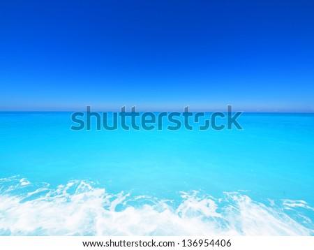 wide angle of wild beach with rocks in water. Island Lefkada, Leucas or Leucadia, Levkas, Lefkas, ionian sea, Greece - stock photo