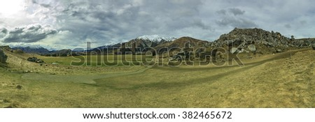 wide angle panorama landscape of castle hill mountain and land slove in arthur pass route south island new zealand - stock photo