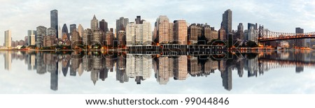 Wide angle panorama of new york city - stock photo