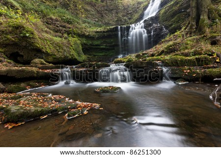 Wide angle panorama of Scaleber Force waterfall, Yorkshire Dales - stock photo