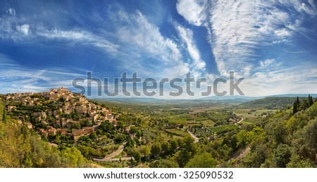Wide angle panoramic view of Gordes. Provence. France - stock photo